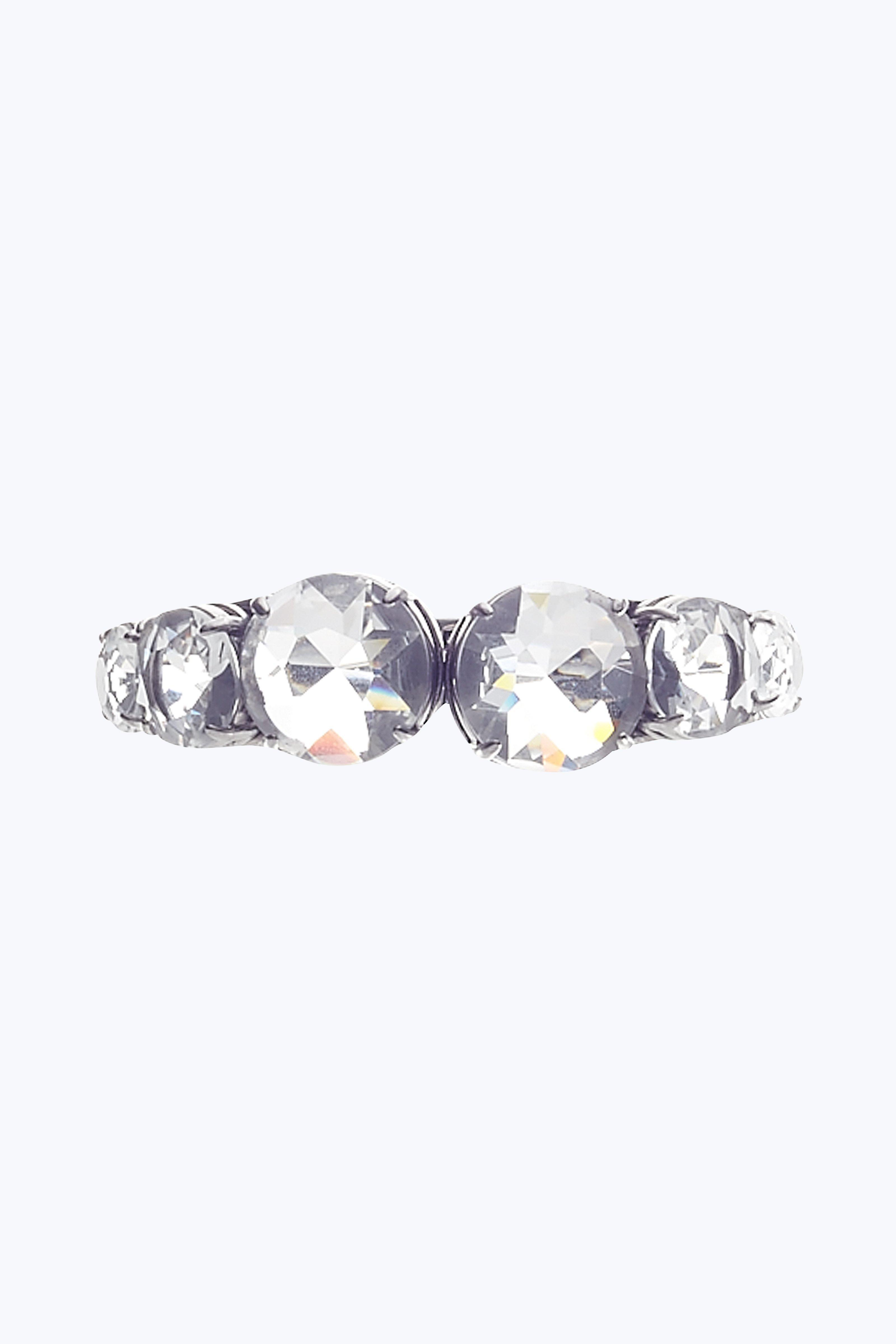 Marc Jacobs Large Multi Stone Cuff In Crystal/Antique Silver