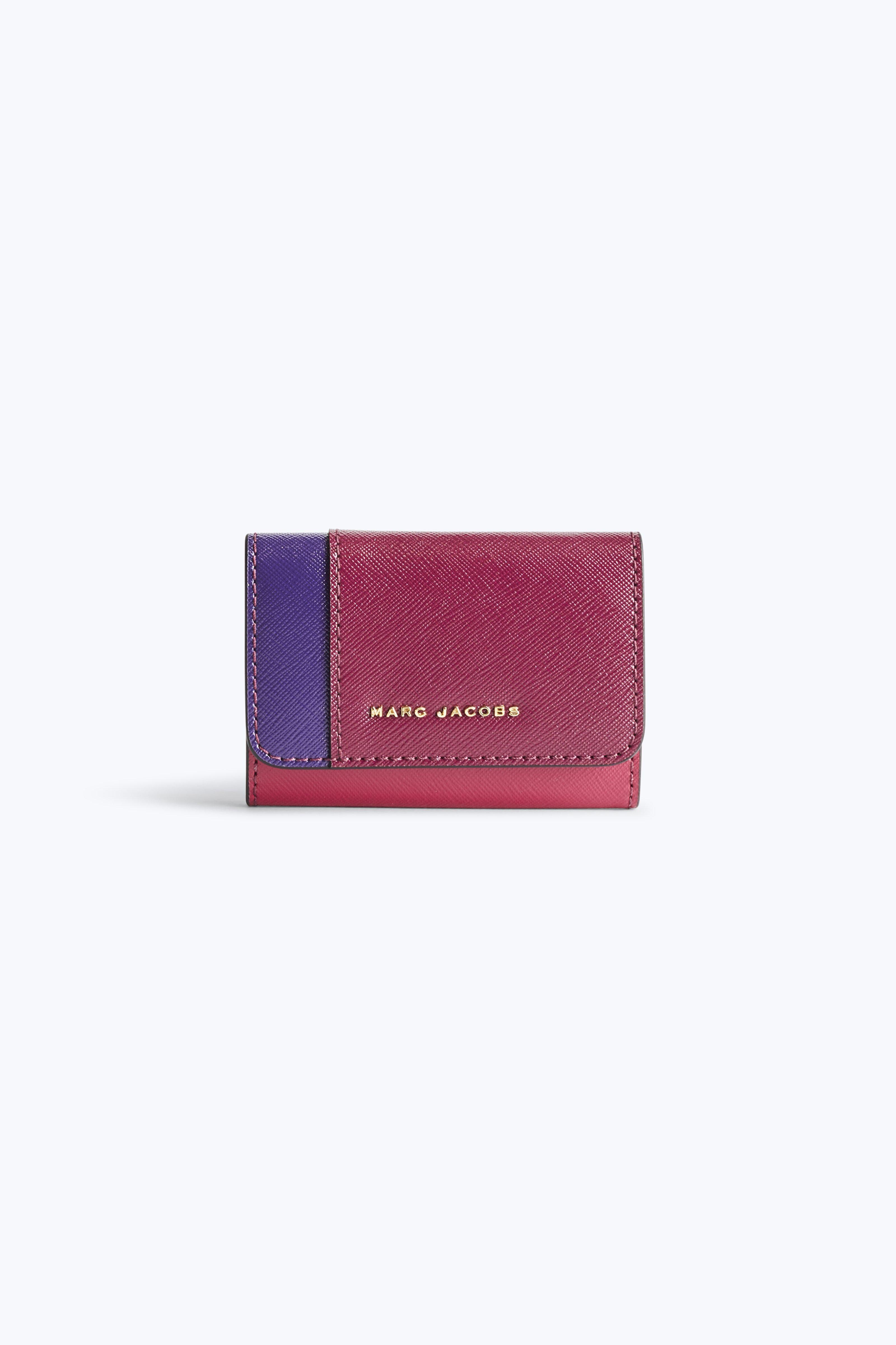 Marc Jacobs Saffiano Colorblocked Key Case In Berry Multi