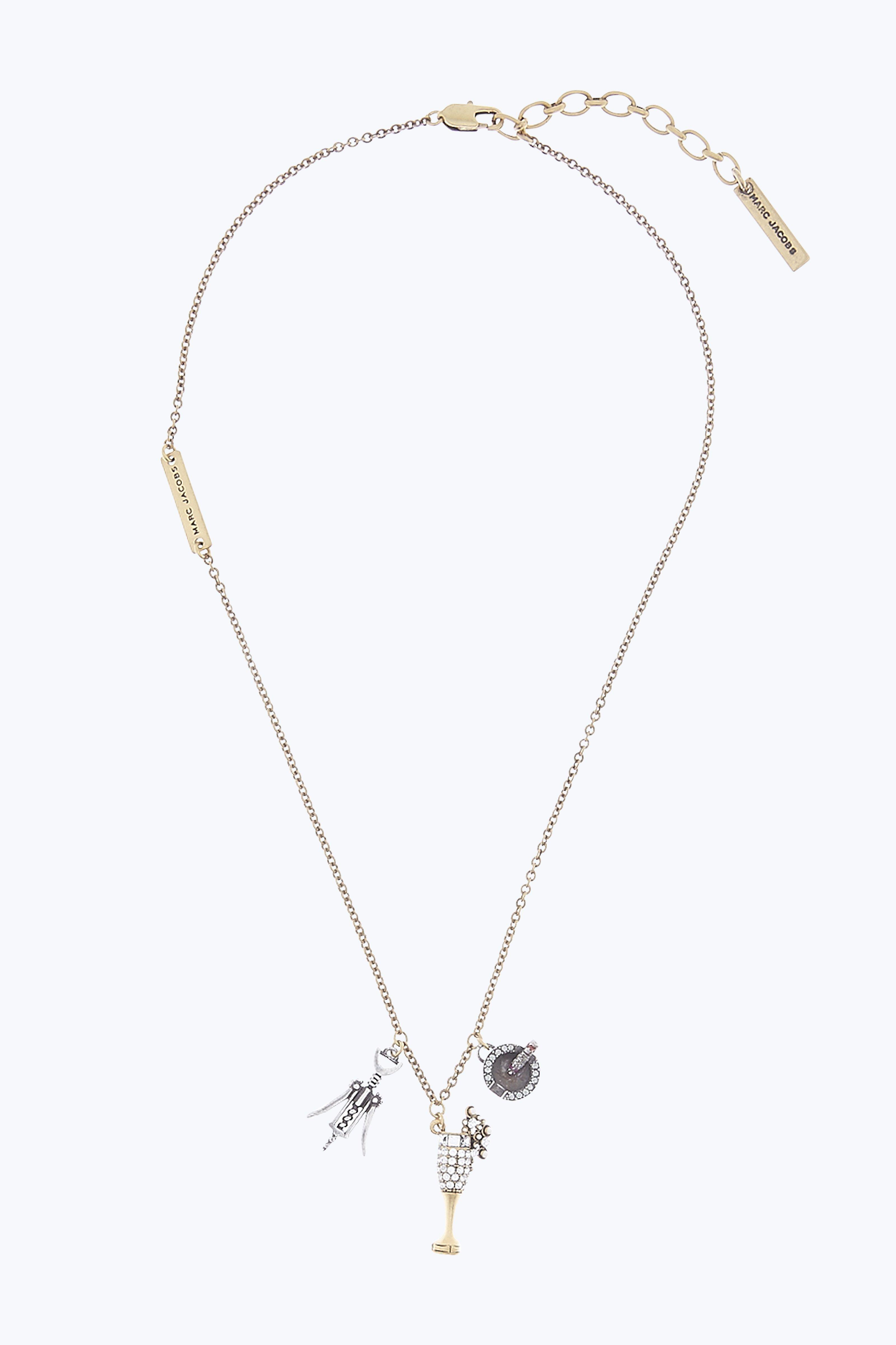 Marc Jacobs Champagne Party Necklace In Antique Gold