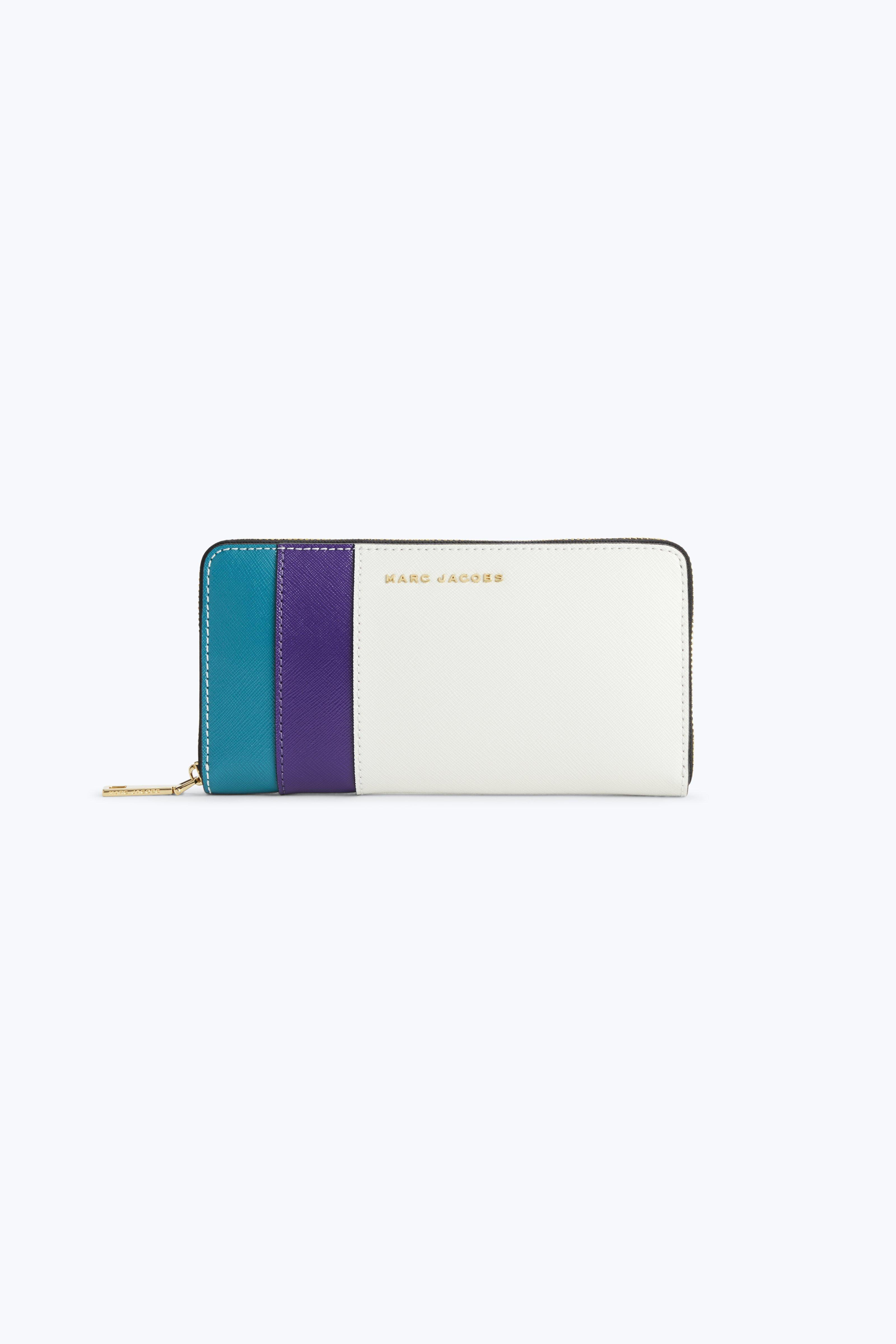 Marc Jacobs Saffiano Colorblocked Standard Continental Wallet In Dove Multi