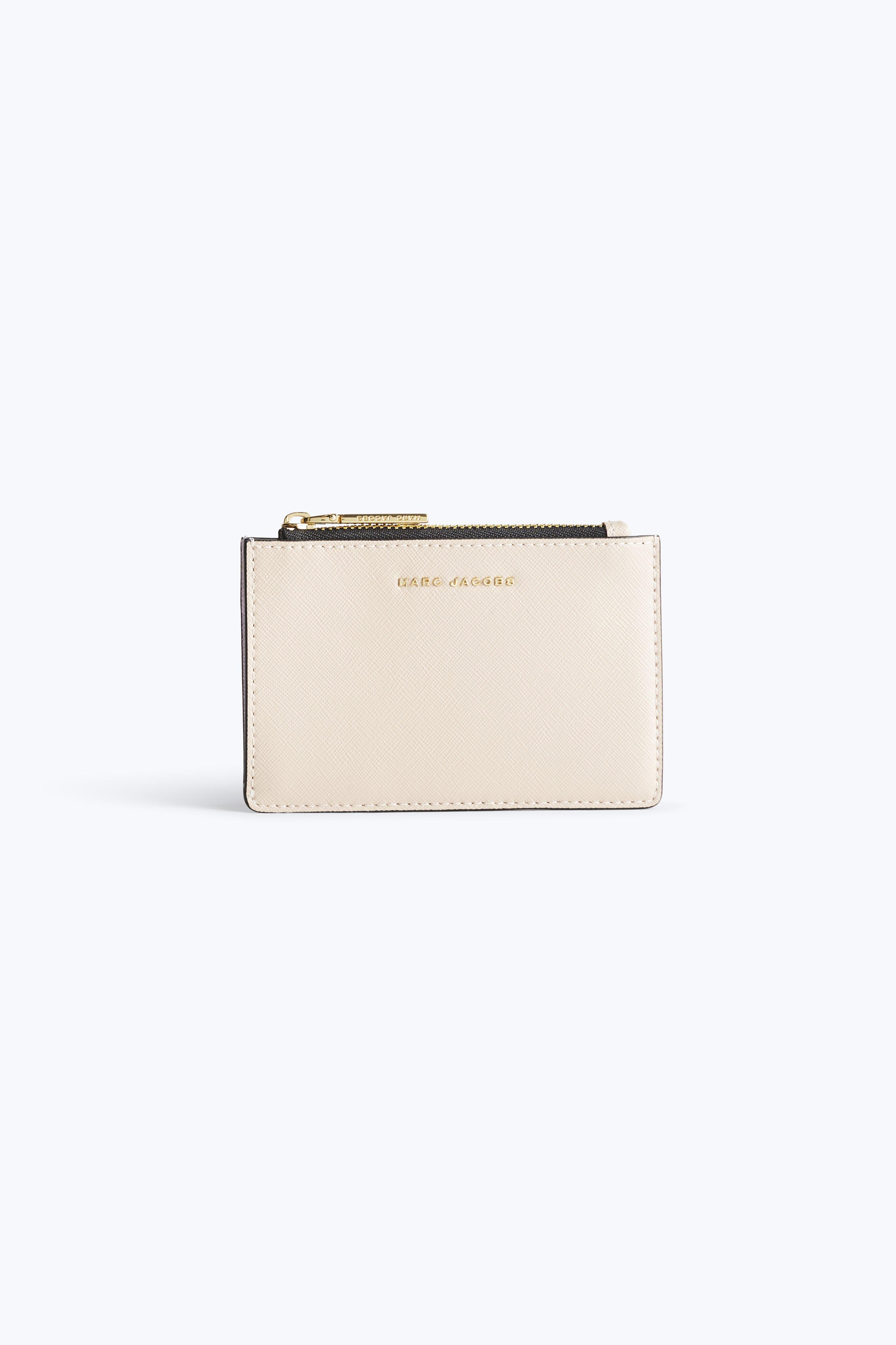 Marc Jacobs Saffiano Top Zip Multi Wallet In Pale Pink