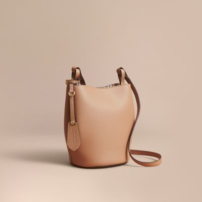 87ada163a157 Burberry Leather And Haymarket Check Crossbody Bucket Bag In Mid Camel
