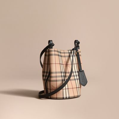8ed79ce5f3eb Burberry Leather And Haymarket Check Crossbody Bucket Bag In Black ...