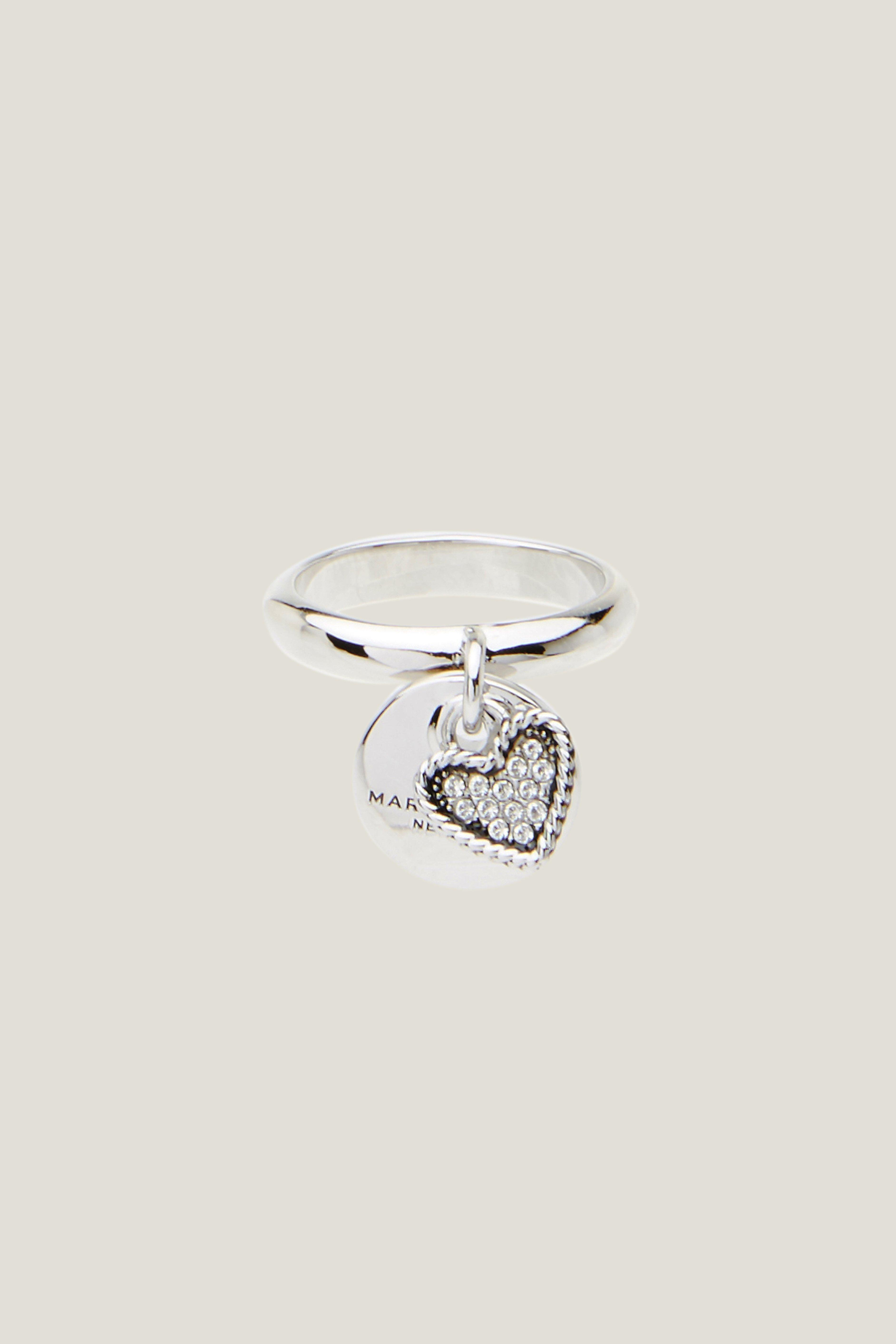 Marc Jacobs Mj Coin Charm Ring In Crystal/Silver
