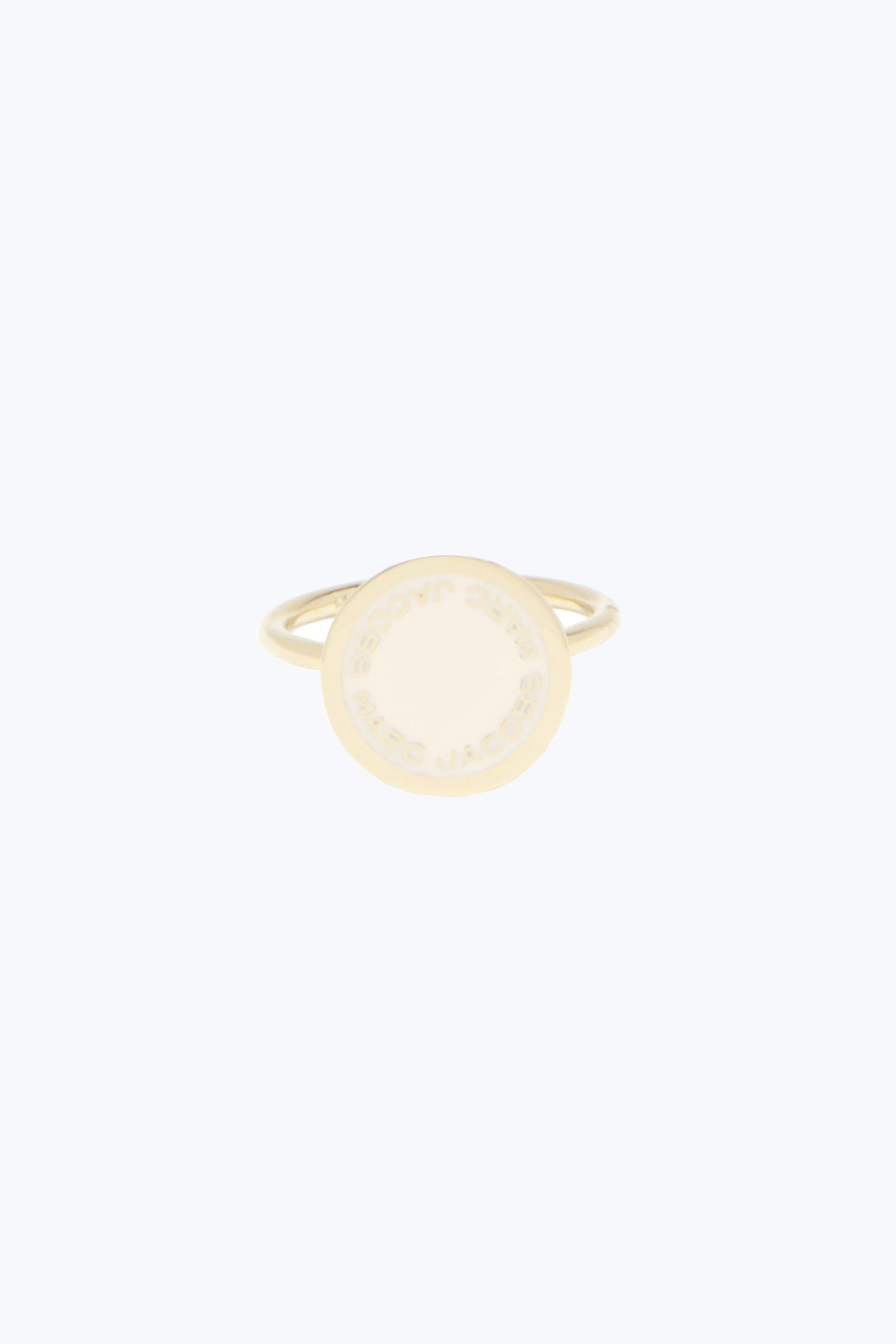 Marc Jacobs Enamel Logo Disc Ring In Cream