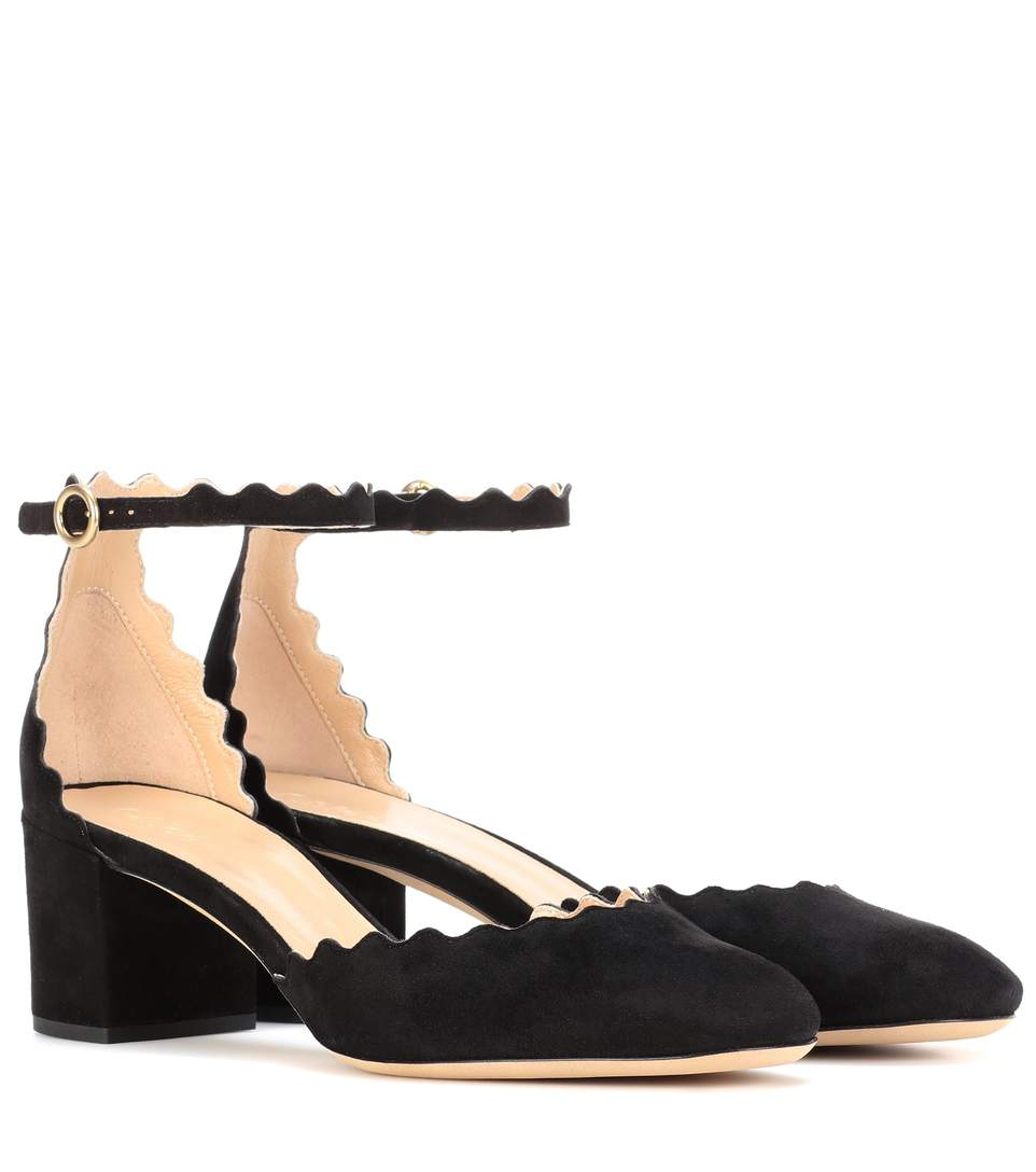 3c1e689382a ChloÉ Lauren Scallop-Edged Suede Pumps In Black