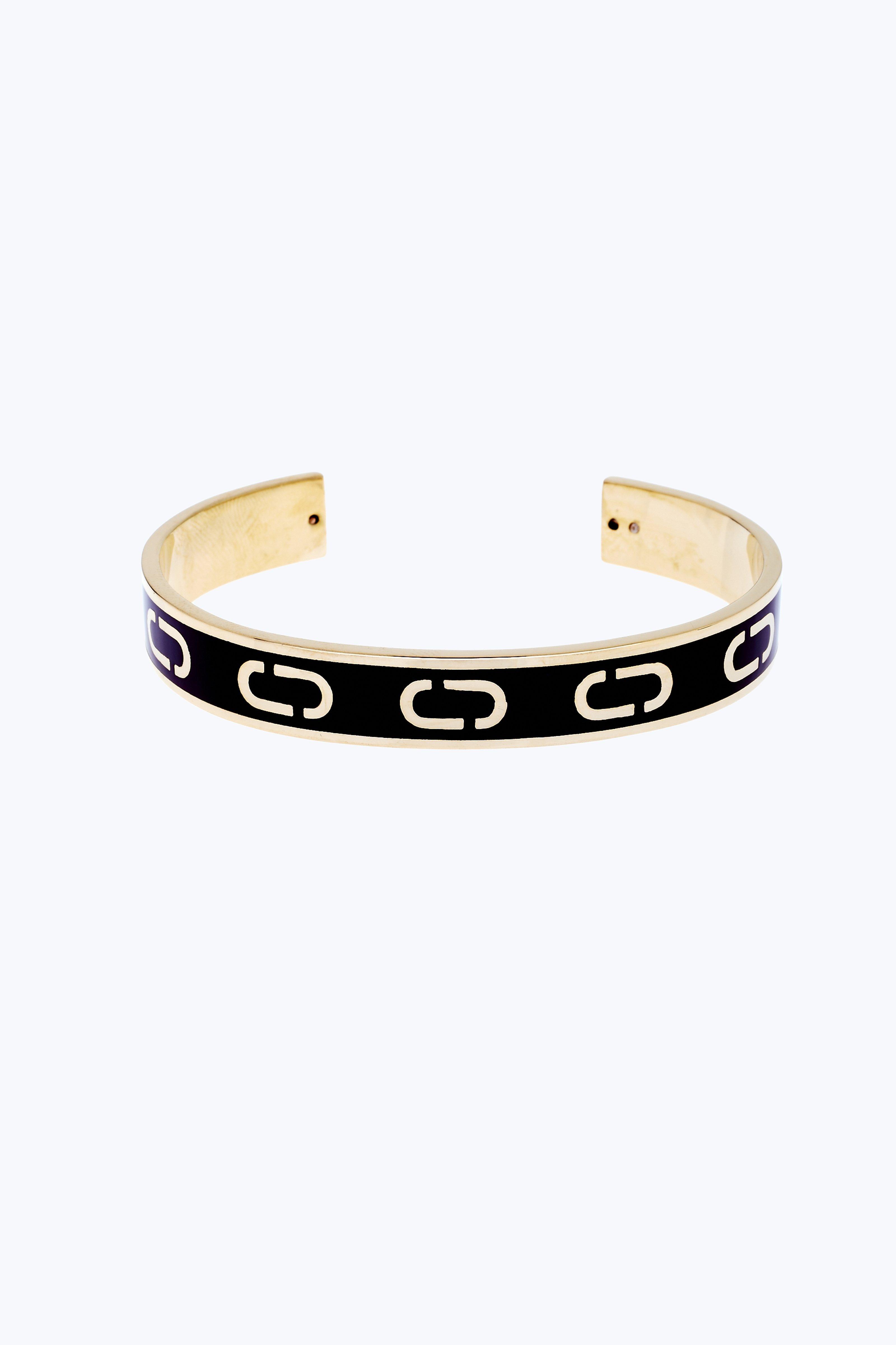Marc Jacobs Icon Enamel Cuff Bracelet In Black