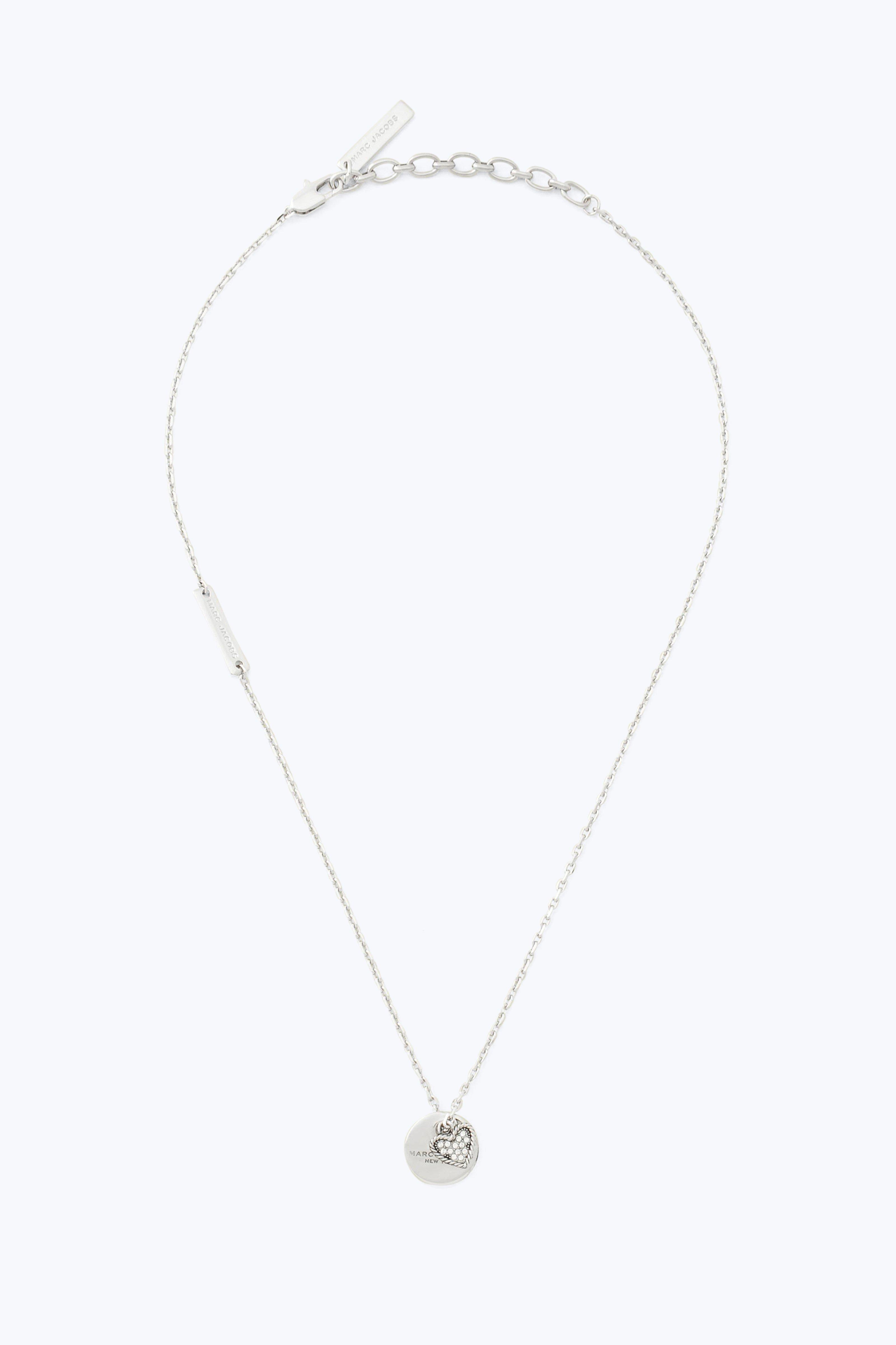 Marc Jacobs Mj Coin Crystal Pendant In Crystal/Silver