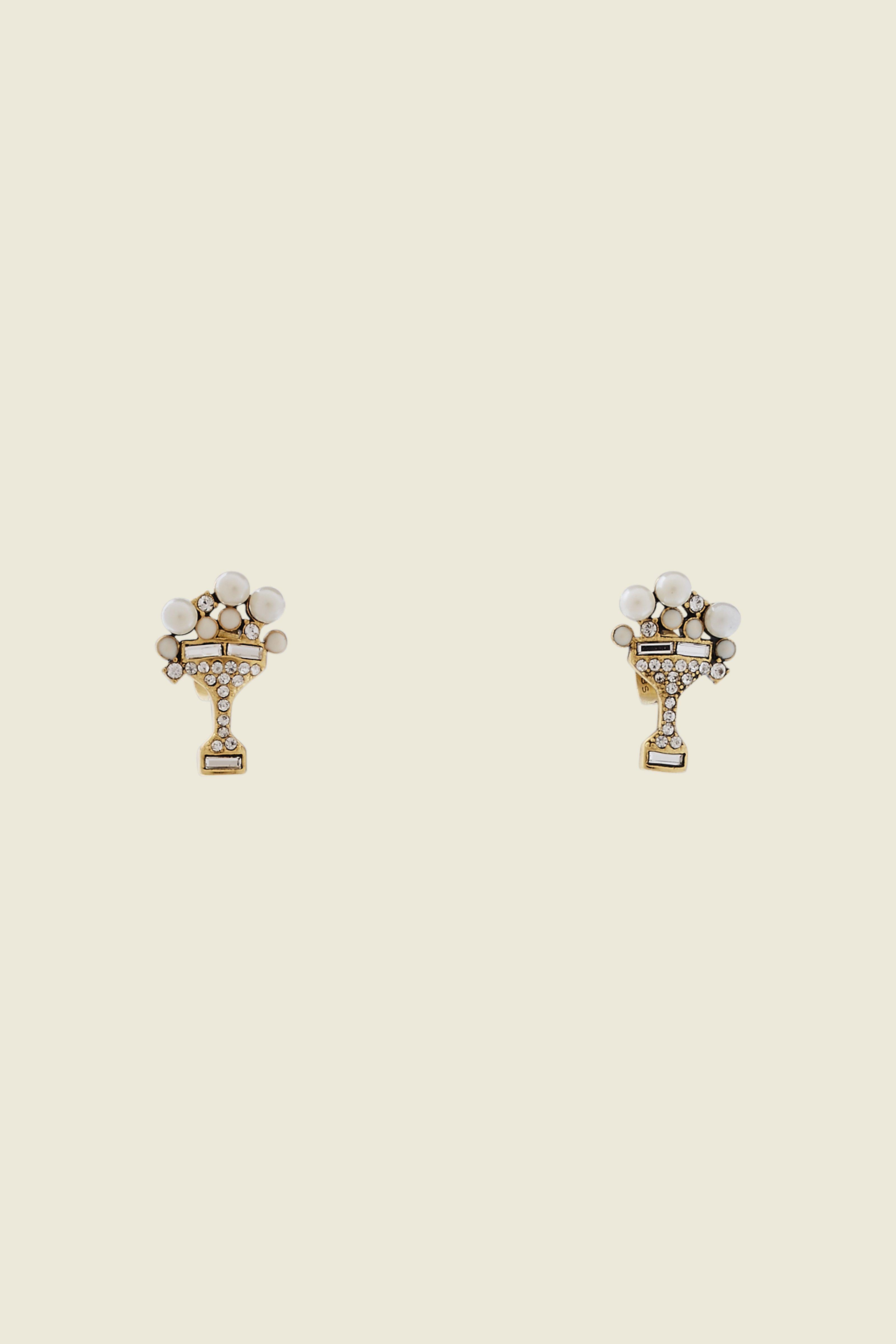Marc Jacobs Charms Tropical Martini Studs In Cream/Antique Gold