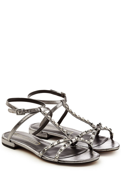 Marc Jacobs Embellished Leather Sandals In Silver