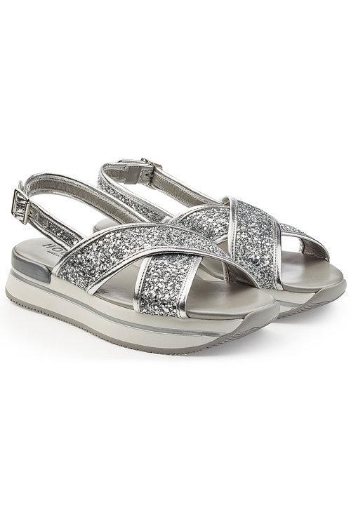 Hogan Platform Sandals With Glitter In Silver