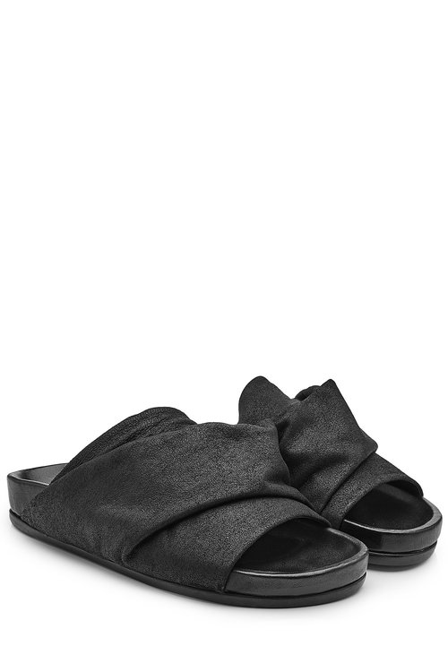 Rick Owens Leather Open Toe Sandals In Black