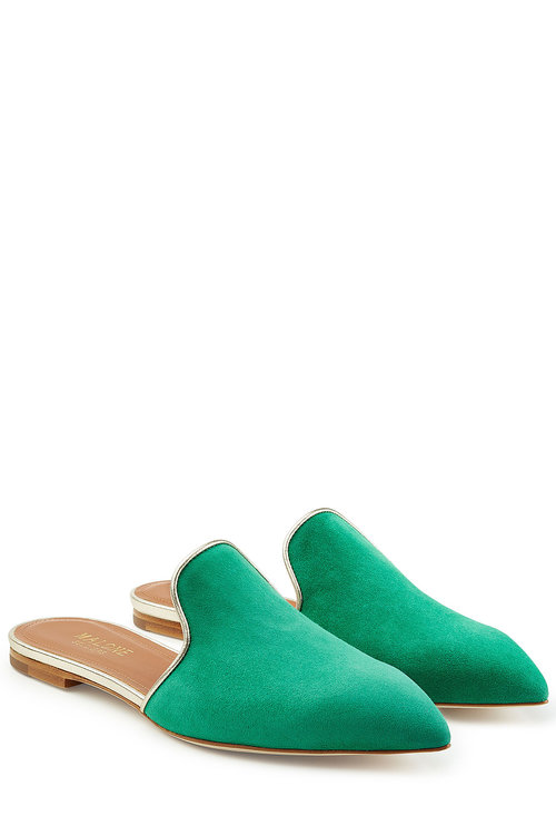 Malone Souliers Suede Mules In Green