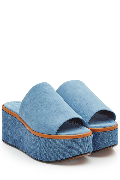 Robert Clergerie Suede And Denim Wedges In Blue