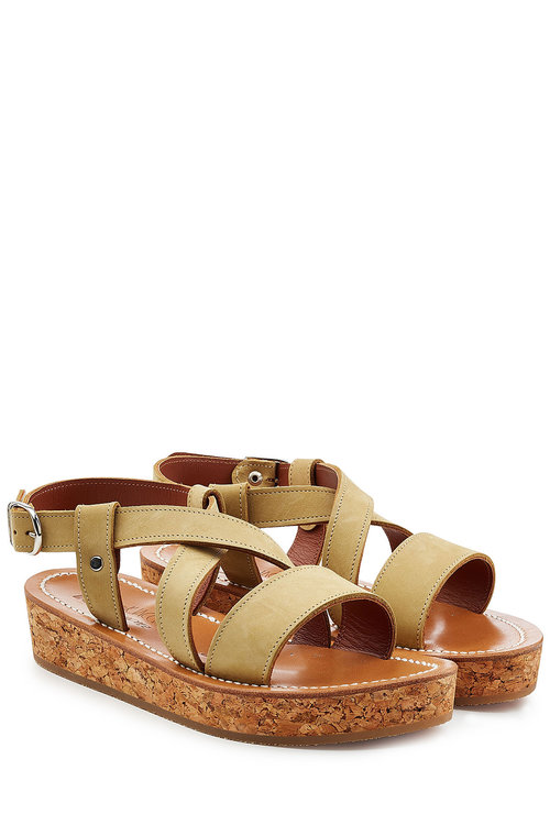 K.Jacques Leather Sandals With Espadrille Wedge In Green