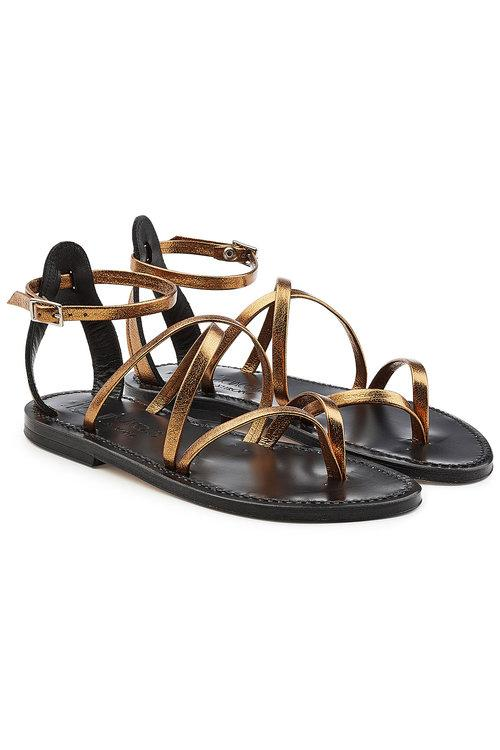 K.Jacques Metallic Leather Sandals In Gold