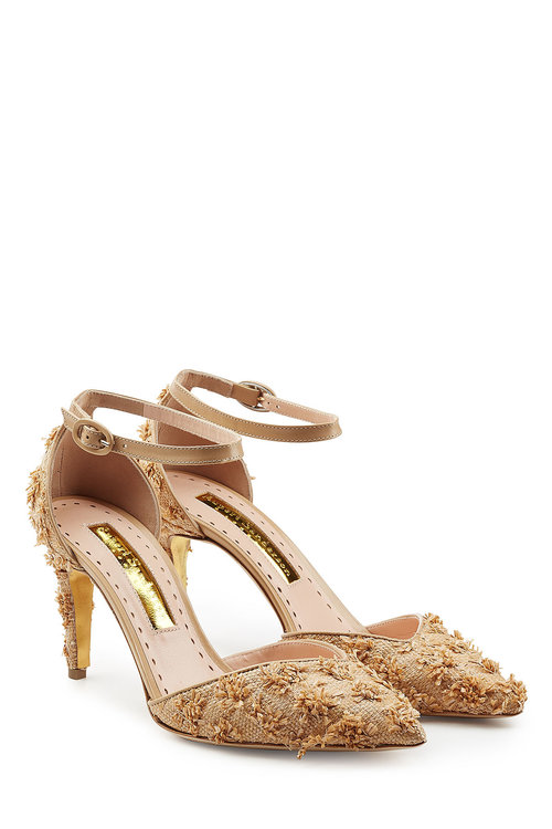 Rupert Sanderson Embellished Pumps In Beige