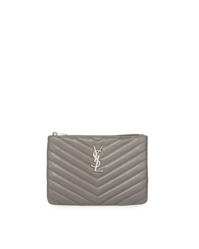 Saint Laurent Monogram Ysl Small Chevron Quilted Zip-Top Pouch Bag - Silver Hardware In Light Gray