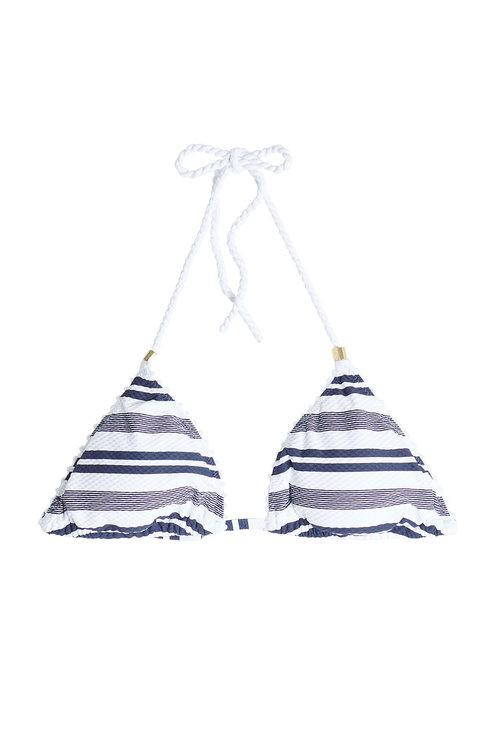 Heidi Klein Striped Padded Triangle Bikini Top In Stripes