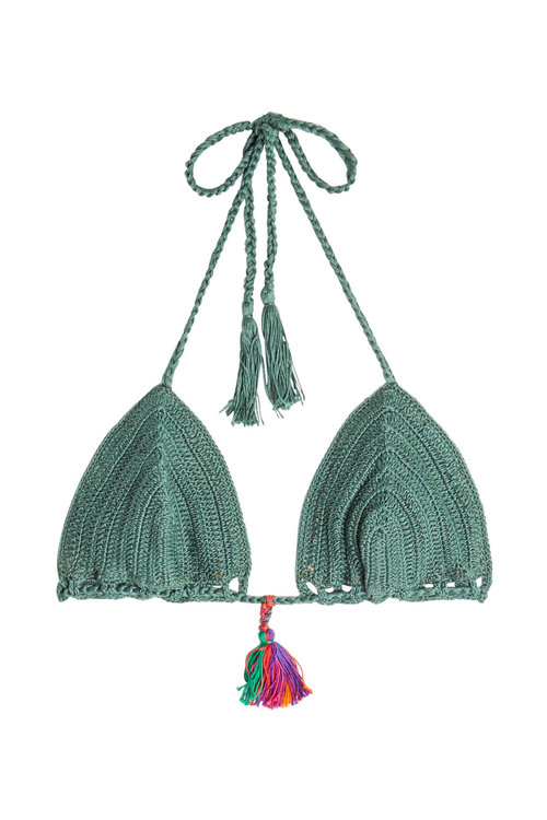 Anna Kosturova Crochet Knit Bikini Top In Green