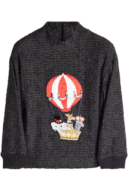 Dolce & Gabbana Embellished Pullover With Cashmere And Cotton In Black