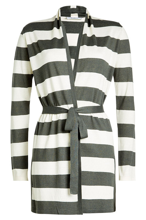 Max Mara Cardigan With Silk And Linen In Stripes
