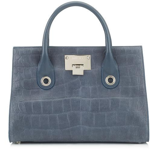 Jimmy Choo Riley Stormy Blue Crocodile Embossed Satin Leather Tote Bag