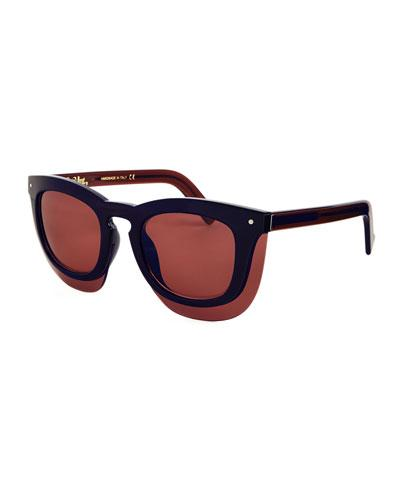 Grey Ant Inbox Oversize Square Sunglasses, Navy/Plum