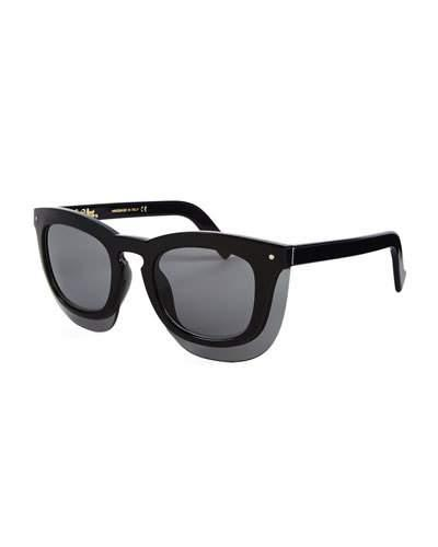Grey Ant Inbox Oversize Square Sunglasses, Black/Gray In Blk/Grey