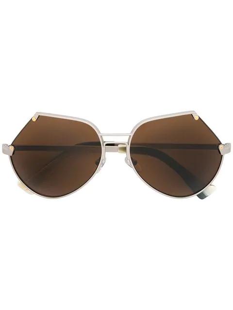 Grey Ant Embassy Cutoff Metal Sunglasses In Matte Silver/Brn