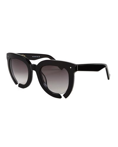 Grey Ant Incidental Notched Square Sunglasses In Black