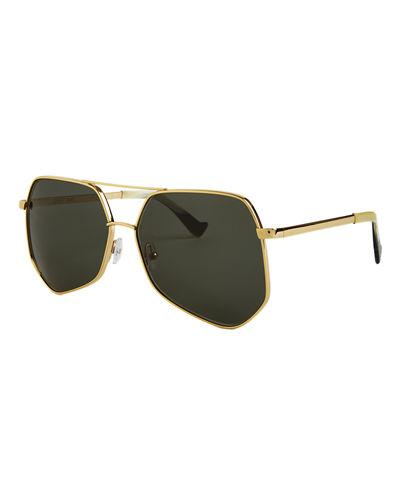 Grey Ant Megalast Large Aviator Sunglasses In Gold