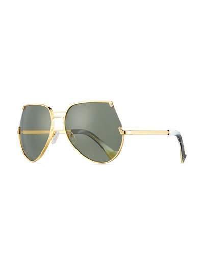 Grey Ant Embassy Cutoff Aviator Sunglasses, Gold/Gray