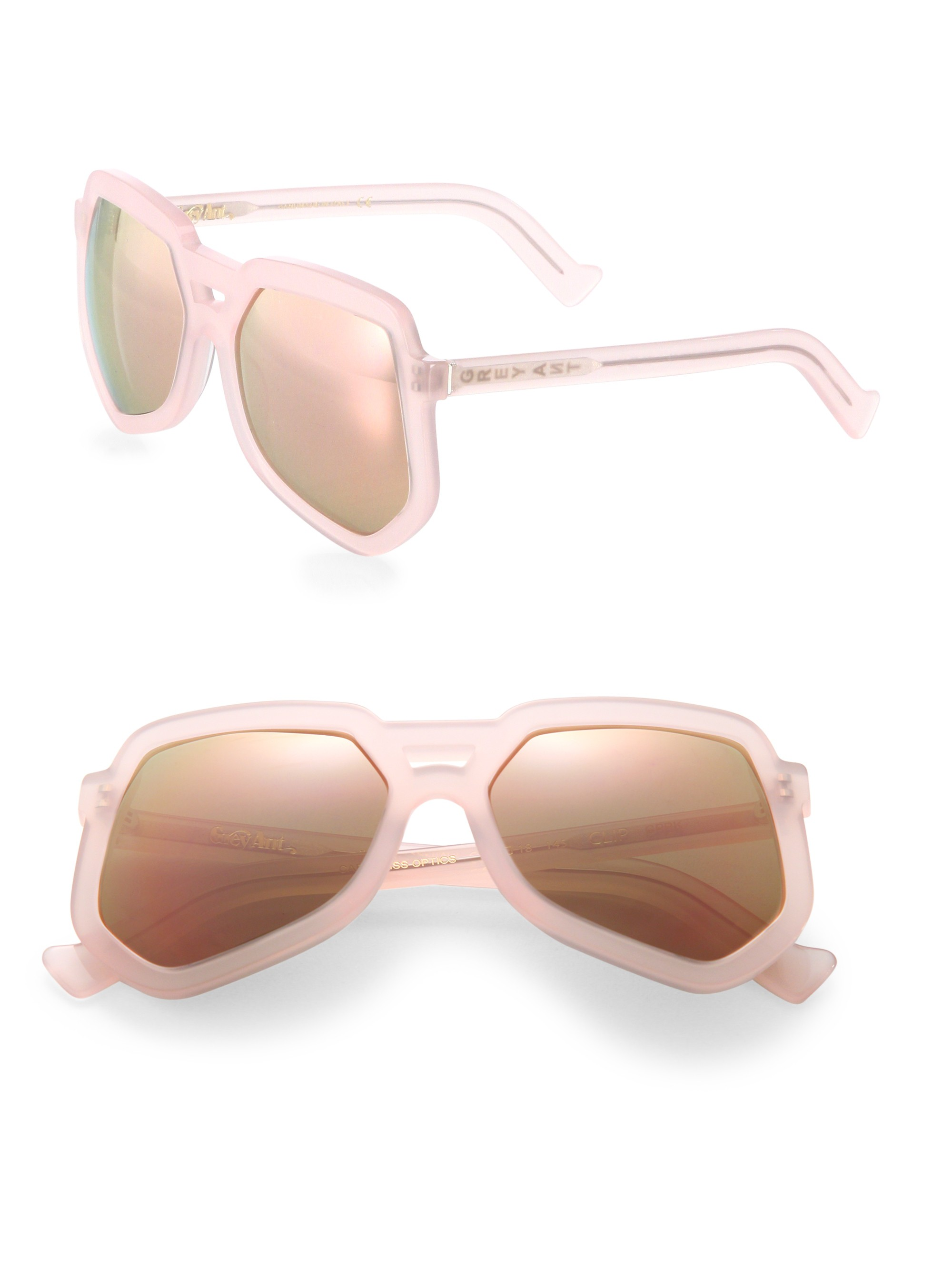 Grey Ant Clip 56Mm Large Aviator Sunglasses In Clouded Rose
