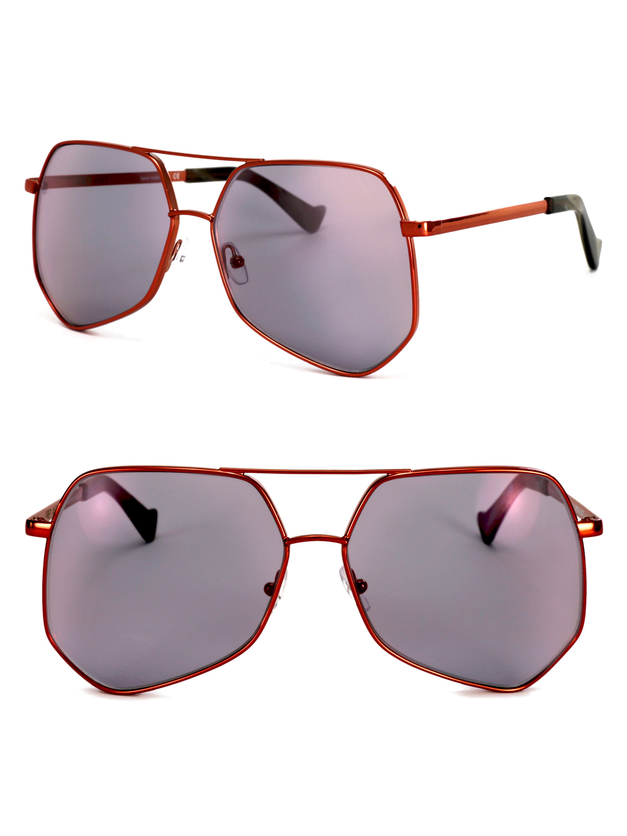 Grey Ant Megalast 61Mm The Wire Hexagon Aviator Sunglasses In Red