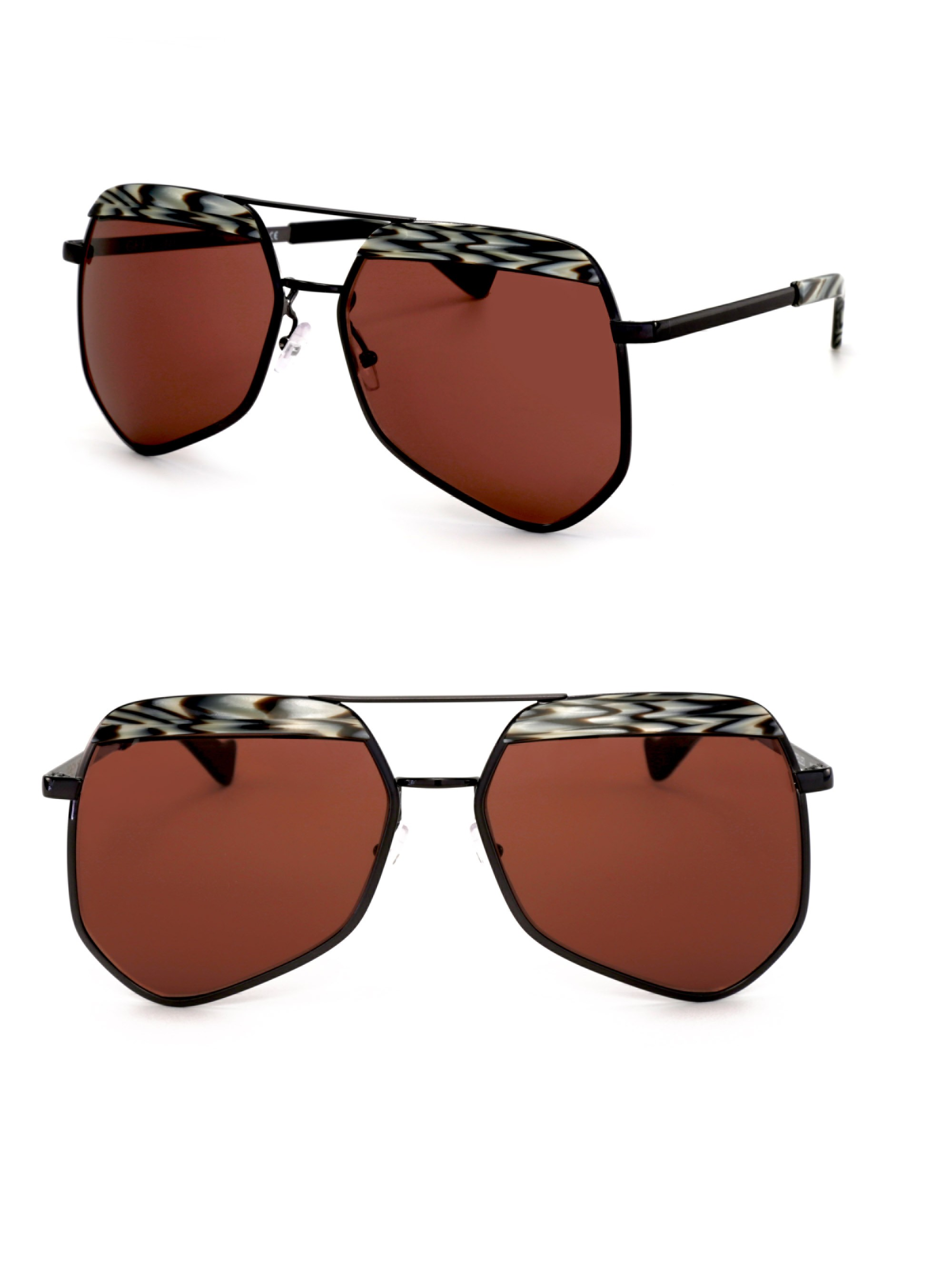 Grey Ant Hexcelled 55Mm The Wire Hexagon Aviator Sunglasses In Rust