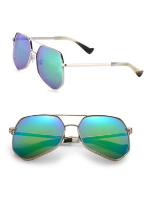 Grey Ant Megalast 61Mm Aviator Sunglasses In Green
