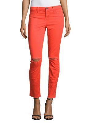 J Brand Skinny Distressed Jeans In Vintage Pink