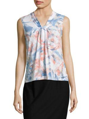 Calvin Klein Knotted Sleeveless Top In Serene Multi