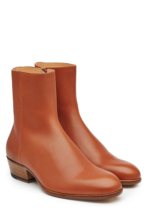 Maison Margiela Leather Boots In Brown