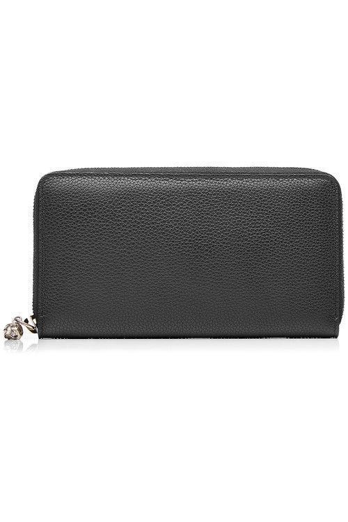 Alexander Mcqueen Leather Continental Zip-Around Wallet In Black