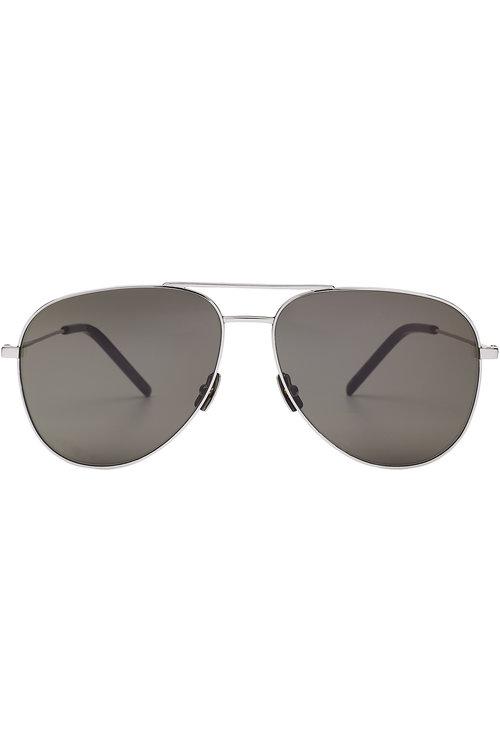 Saint Laurent Classic Aviator Sunglasses In Silver