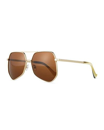 Grey Ant Megalast Large Aviator Sunglasses In Light Gold