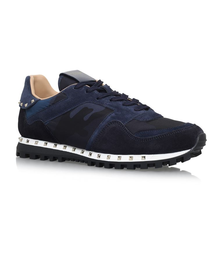 Valentino Studded Camouflage Sneakers In Navy