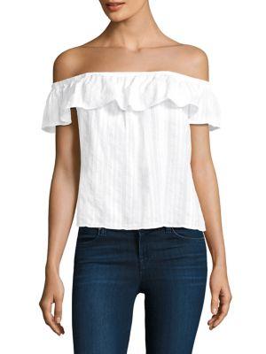 Bella Dahl Cotton Ruffled Top In White