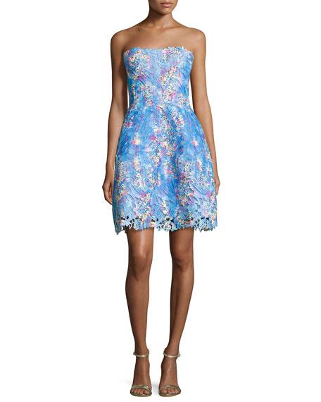 Monique Lhuillier Strapless Floral Lace Cocktail Dress In Turquoise/Aqua