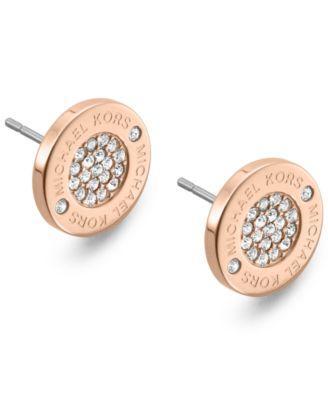 Michael Kors Heritage Pave Stud Earrings In Rose Gold-Tone