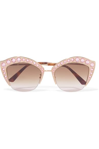 Gucci Semi-Rimless Swarovski® Cat-Eye Sunglasses, Gold, Yellow Pattern