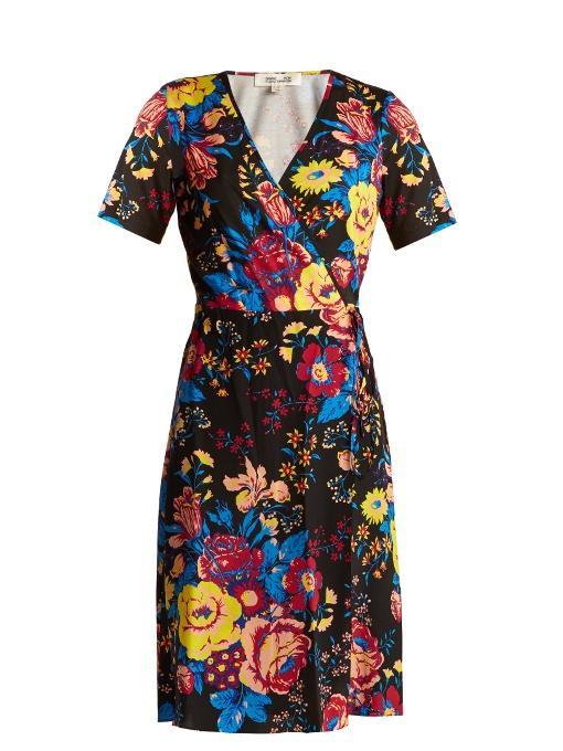 Diane Von Furstenberg Bournier Floral-Print Silk Wrap Dress In Black Print