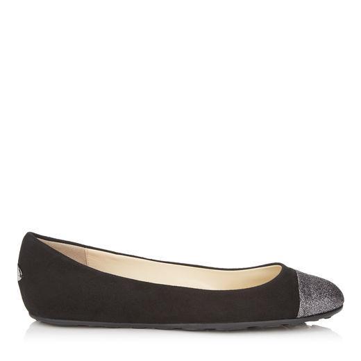 Jimmy Choo Gaze Flat Black Suede Ballerina Flats With Bronze Mix Midnight Coarse Glitter Fabric Toe Cap In Black/Steel